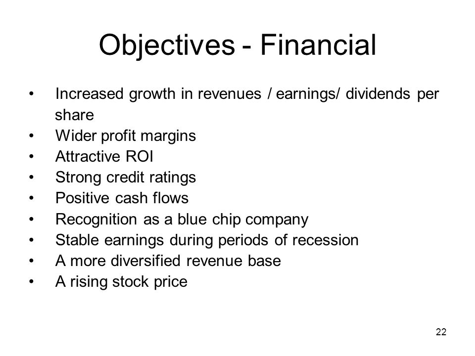 Objectives - Financial