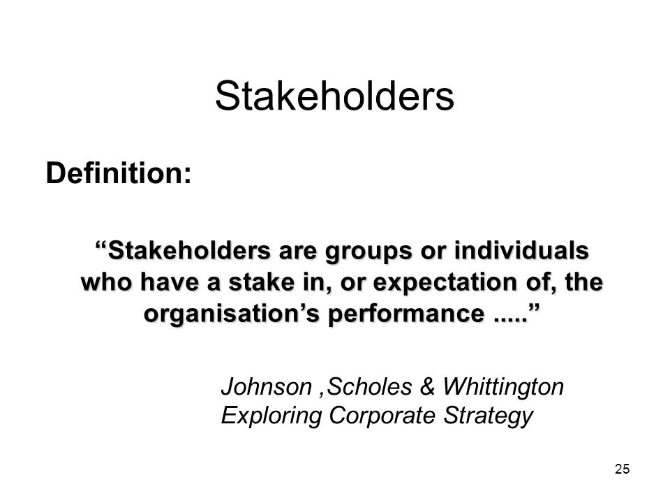 Stakeholders Definition: