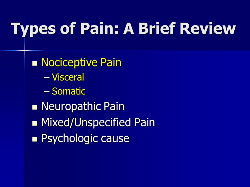 Types of Pain: A Brief Review