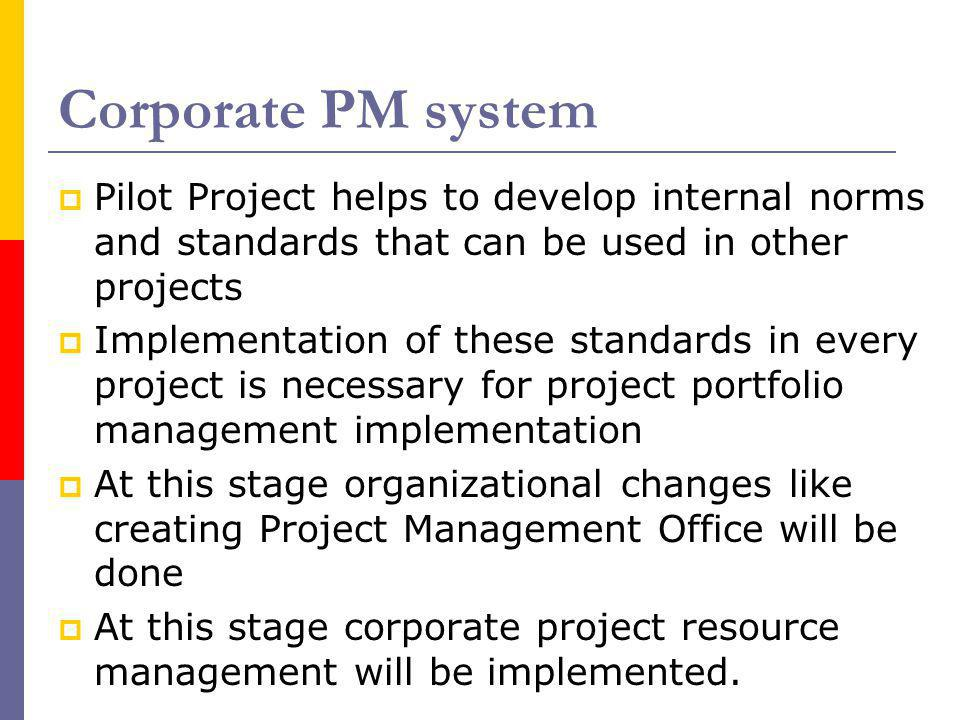 Corporate PM system Pilot Project helps to develop internal norms and standards that can be used in other projects.