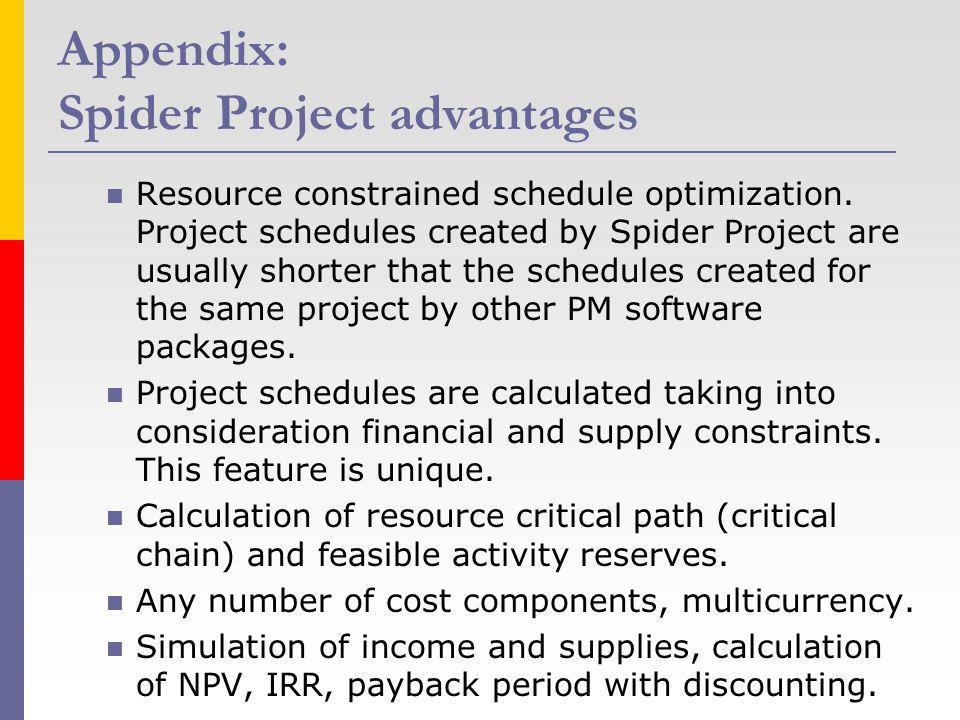 Appendix: Spider Project advantages