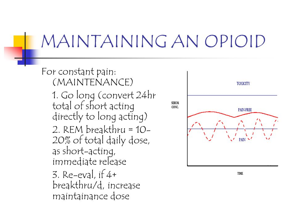 MAINTAINING AN OPIOID For constant pain: (MAINTENANCE)