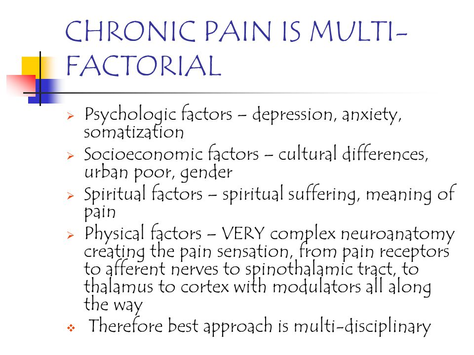 CHRONIC PAIN IS MULTI-FACTORIAL