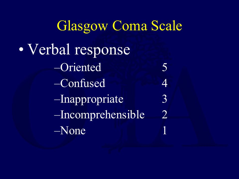 Verbal response Glasgow Coma Scale Oriented 5 Confused 4