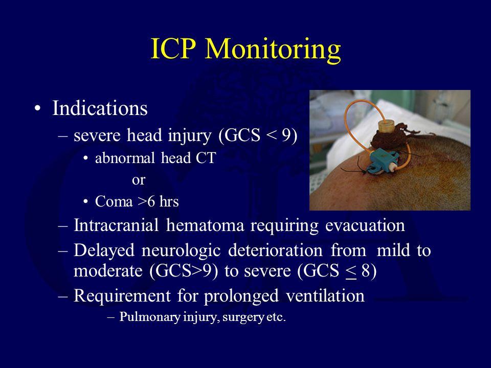 ICP Monitoring Indications severe head injury (GCS < 9)