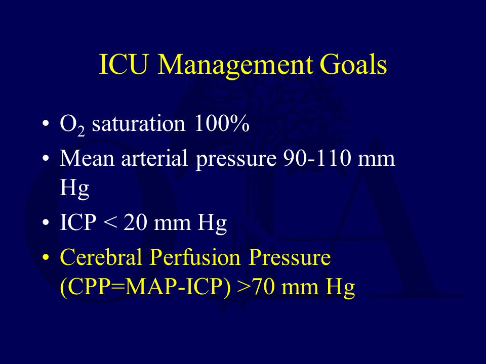 ICU Management Goals O2 saturation 100%