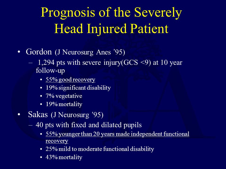 Prognosis of the Severely Head Injured Patient