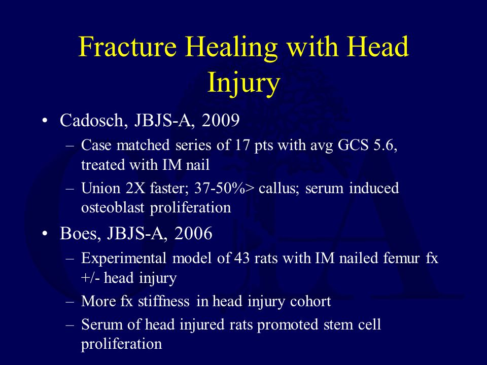 Fracture Healing with Head Injury