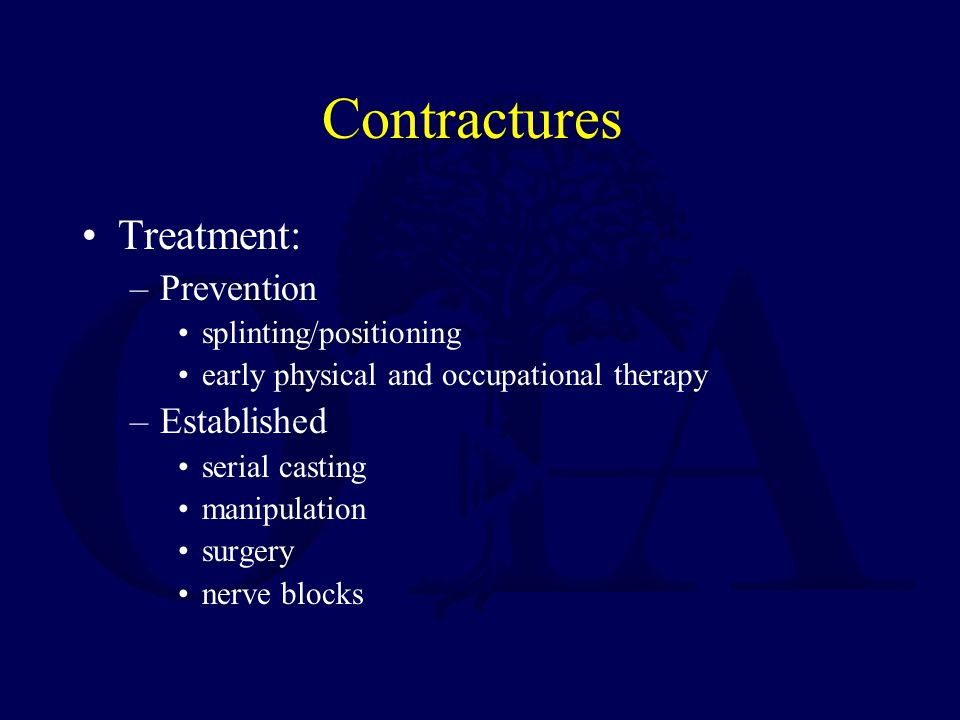 Contractures Treatment: Prevention Established splinting/positioning