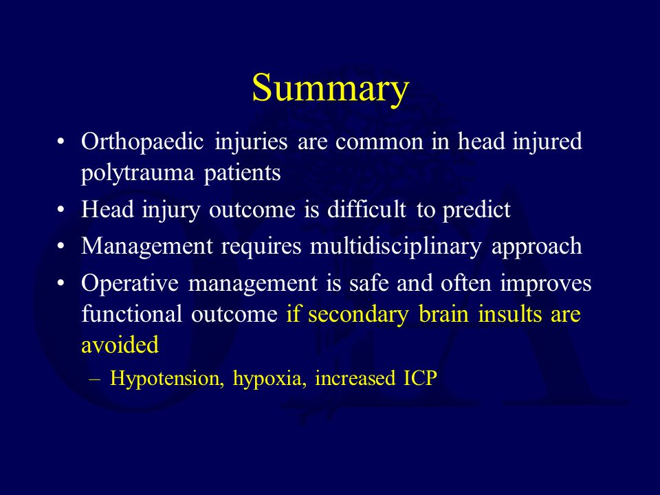 Summary Orthopaedic injuries are common in head injured polytrauma patients. Head injury outcome is difficult to predict.