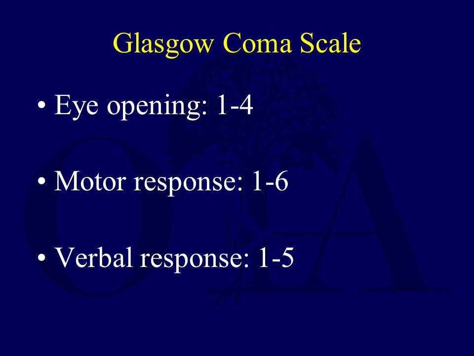 Glasgow Coma Scale Eye opening: 1-4 Motor response: 1-6