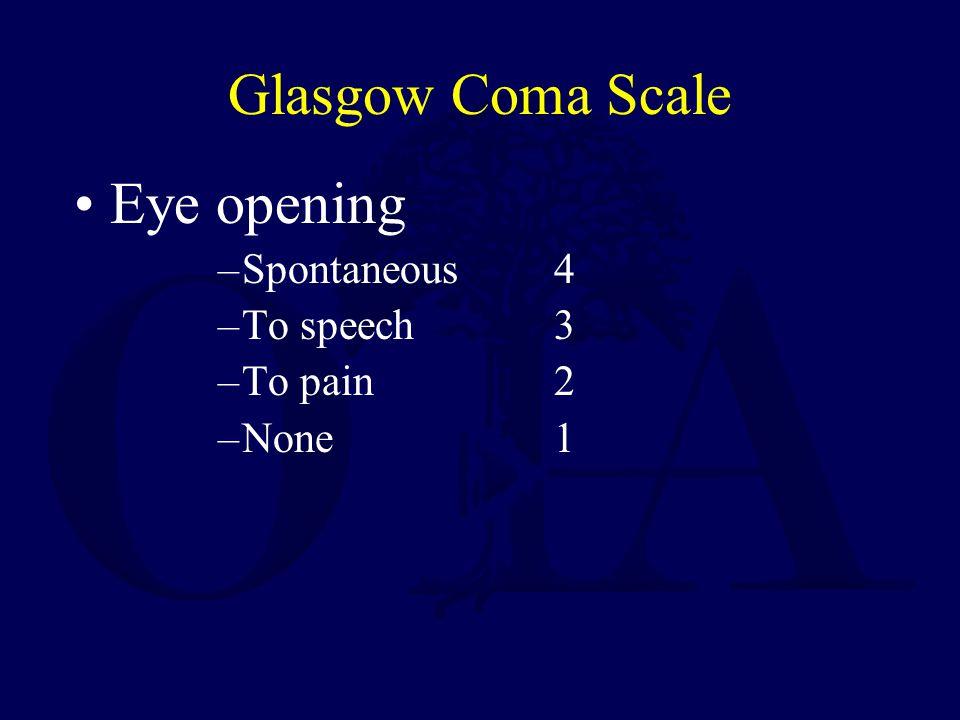 Glasgow Coma Scale Eye opening Spontaneous 4 To speech 3 To pain 2