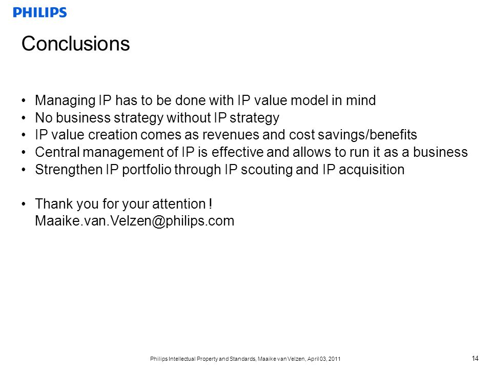 Conclusions Managing IP has to be done with IP value model in mind