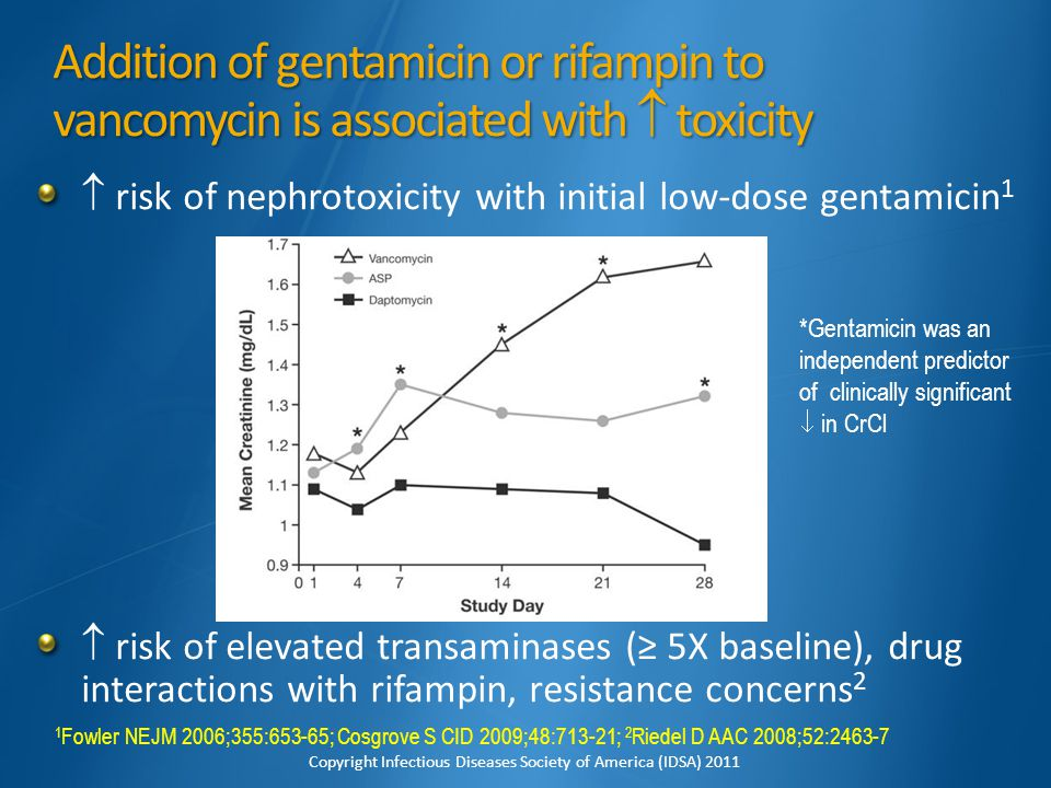 Addition of gentamicin or rifampin to vancomycin is associated with  toxicity