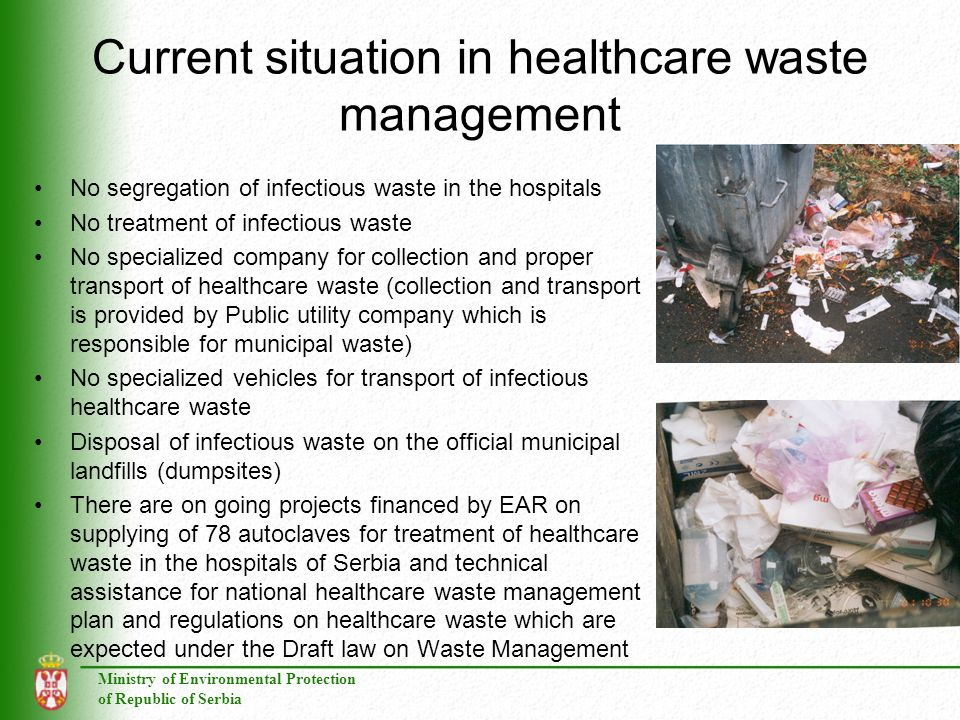 Current situation in healthcare waste management