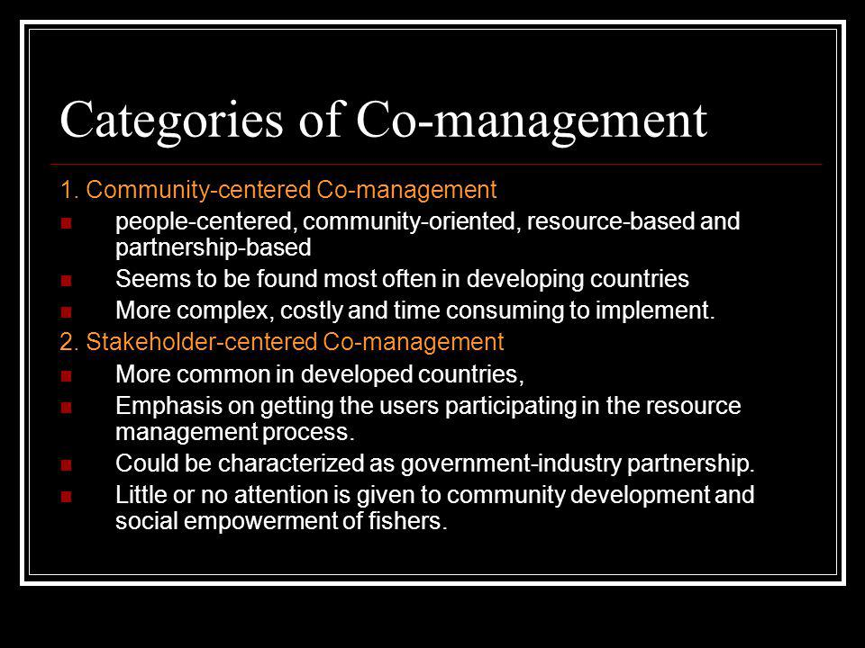 Categories of Co-management