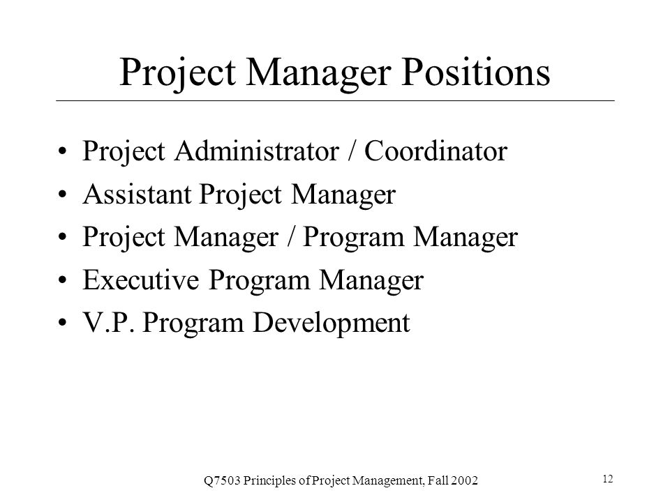 Project Manager Positions