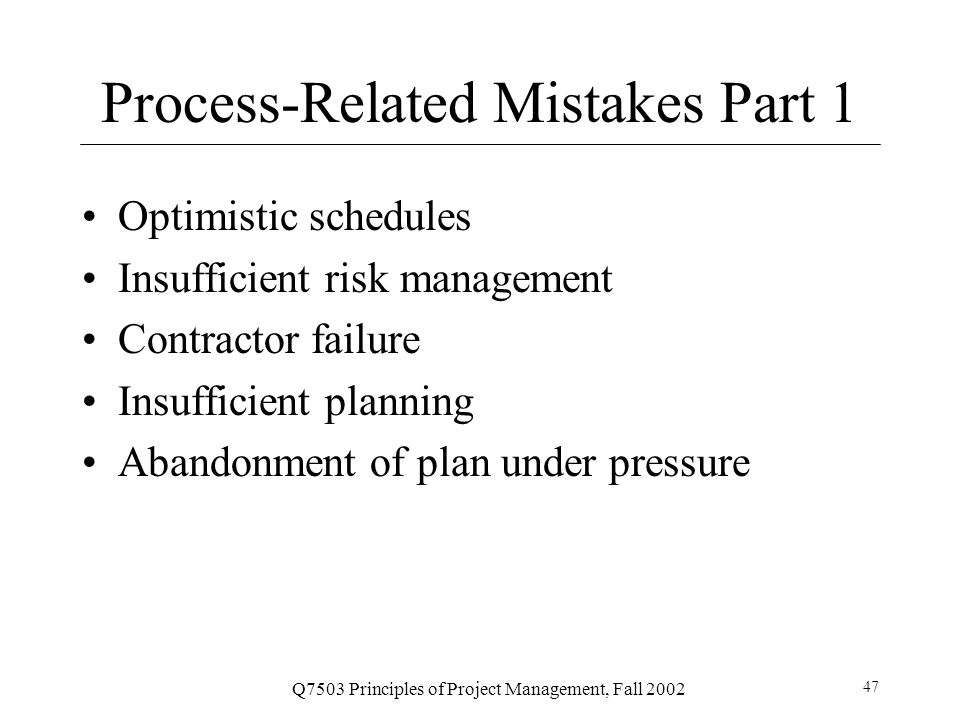 Process-Related Mistakes Part 1