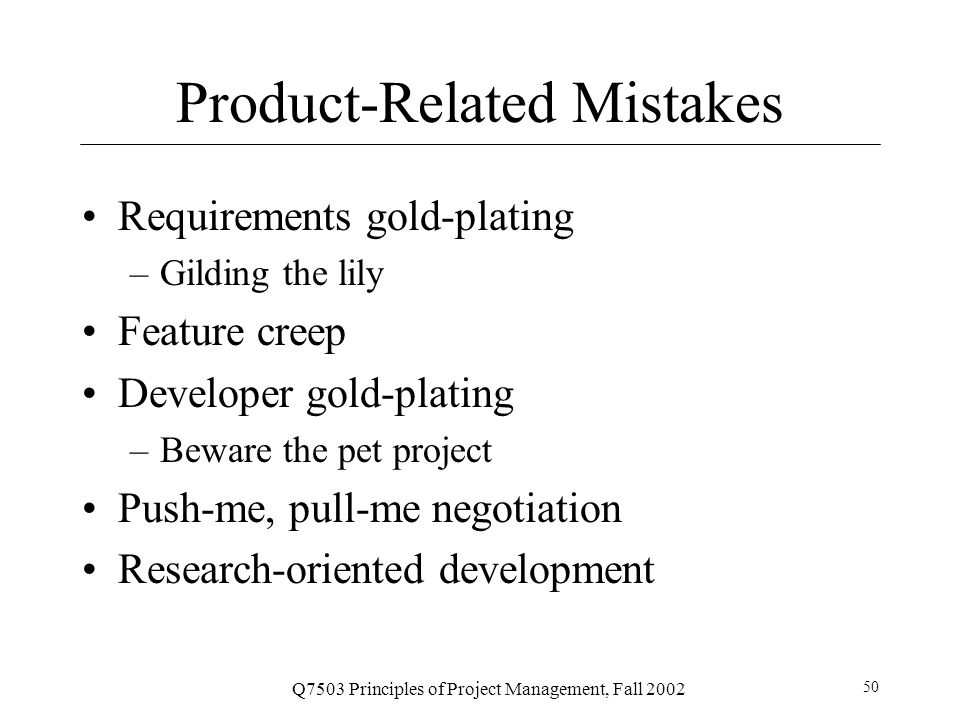Product-Related Mistakes