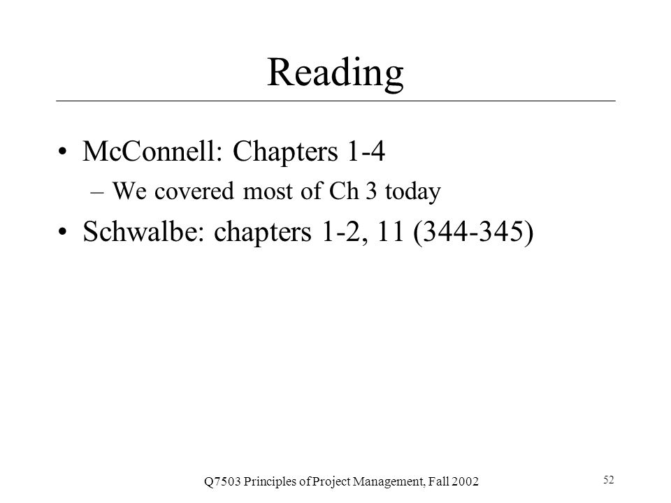 Q7503 Principles of Project Management, Fall 2002