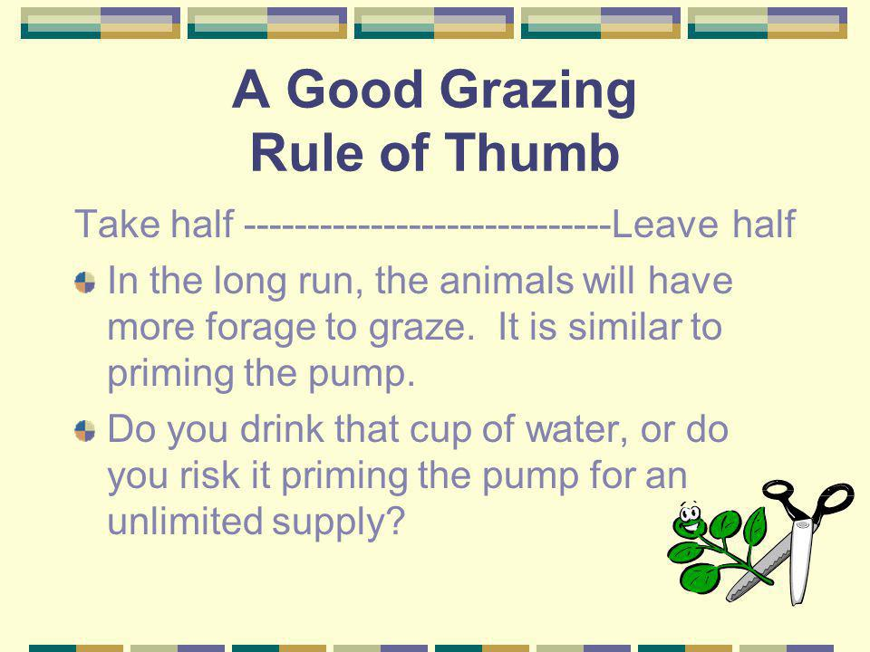 A Good Grazing Rule of Thumb