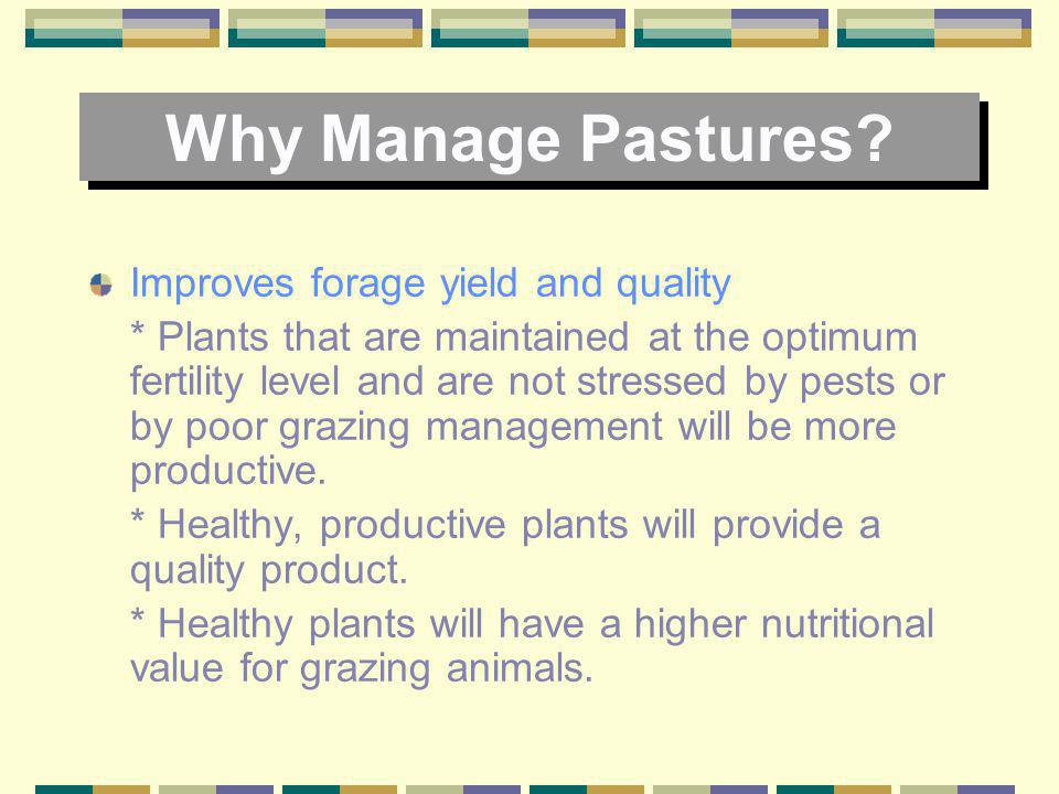 Why Manage Pastures Improves forage yield and quality