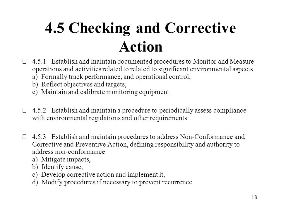 4.5 Checking and Corrective Action