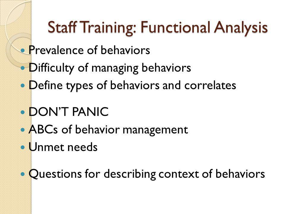 Staff Training: Functional Analysis