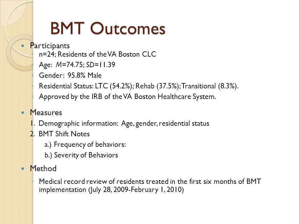 BMT Outcomes Participants Measures Method