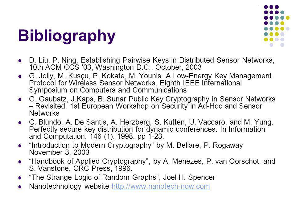 Bibliography D. Liu, P. Ning, Establishing Pairwise Keys in Distributed Sensor Networks, 10th ACM CCS 03, Washington D.C., October, 2003.