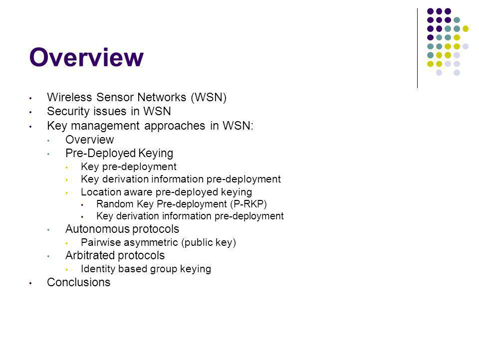 Overview Wireless Sensor Networks (WSN) Security issues in WSN