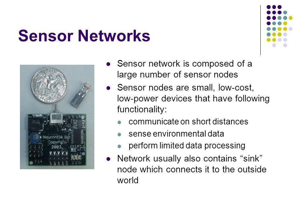 Sensor Networks Sensor network is composed of a large number of sensor nodes.