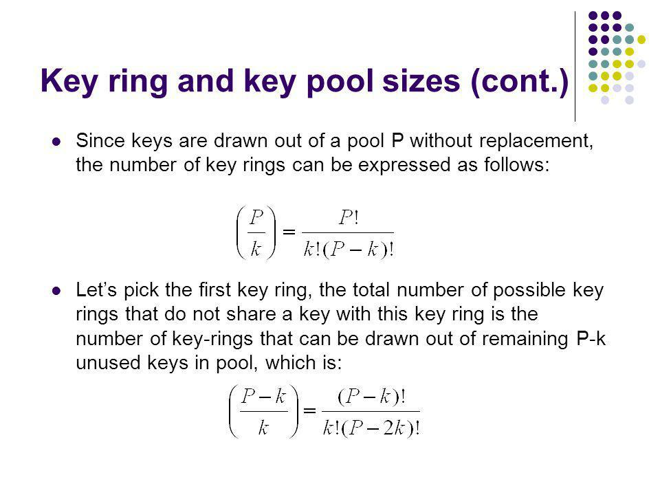 Key ring and key pool sizes (cont.)