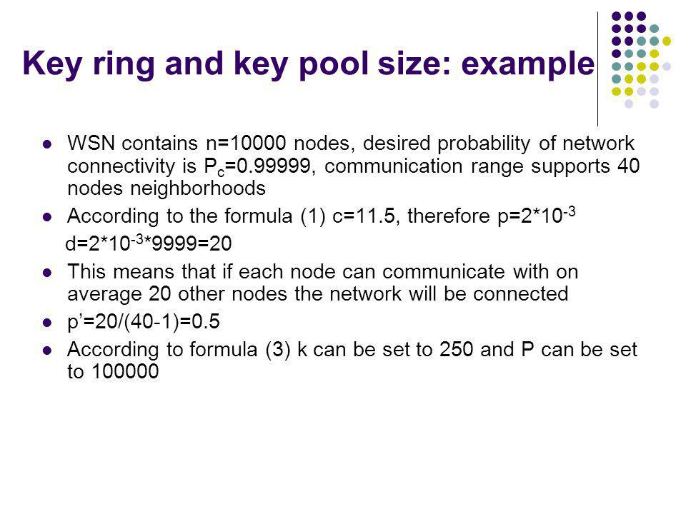 Key ring and key pool size: example