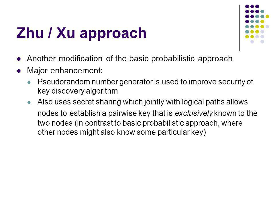 Zhu / Xu approach Another modification of the basic probabilistic approach. Major enhancement: