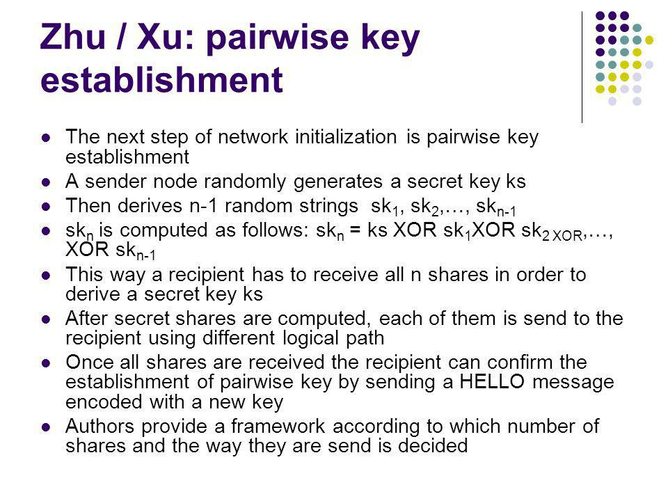 Zhu / Xu: pairwise key establishment