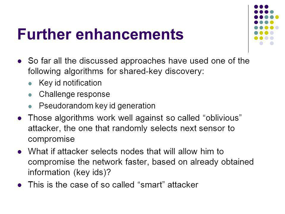 Further enhancements So far all the discussed approaches have used one of the following algorithms for shared-key discovery: