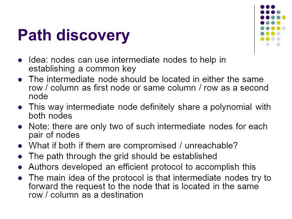 Path discovery Idea: nodes can use intermediate nodes to help in establishing a common key.