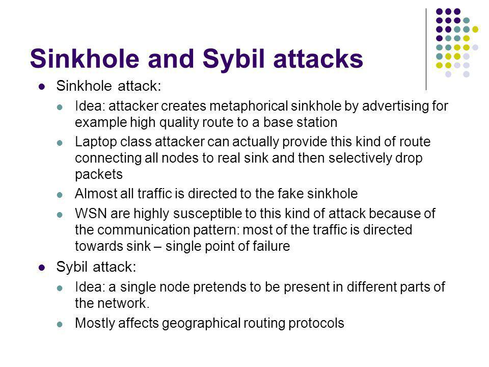 Sinkhole and Sybil attacks