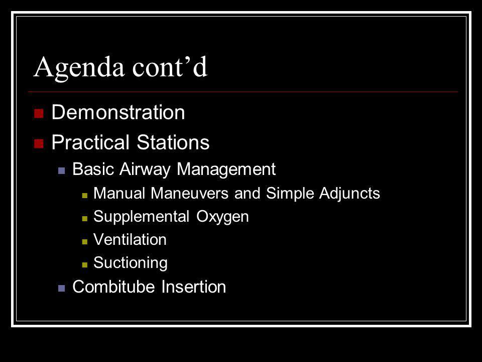 Agenda cont'd Demonstration Practical Stations Basic Airway Management