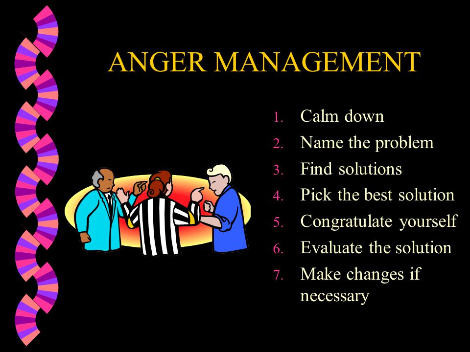 ANGER MANAGEMENT Calm down Name the problem Find solutions