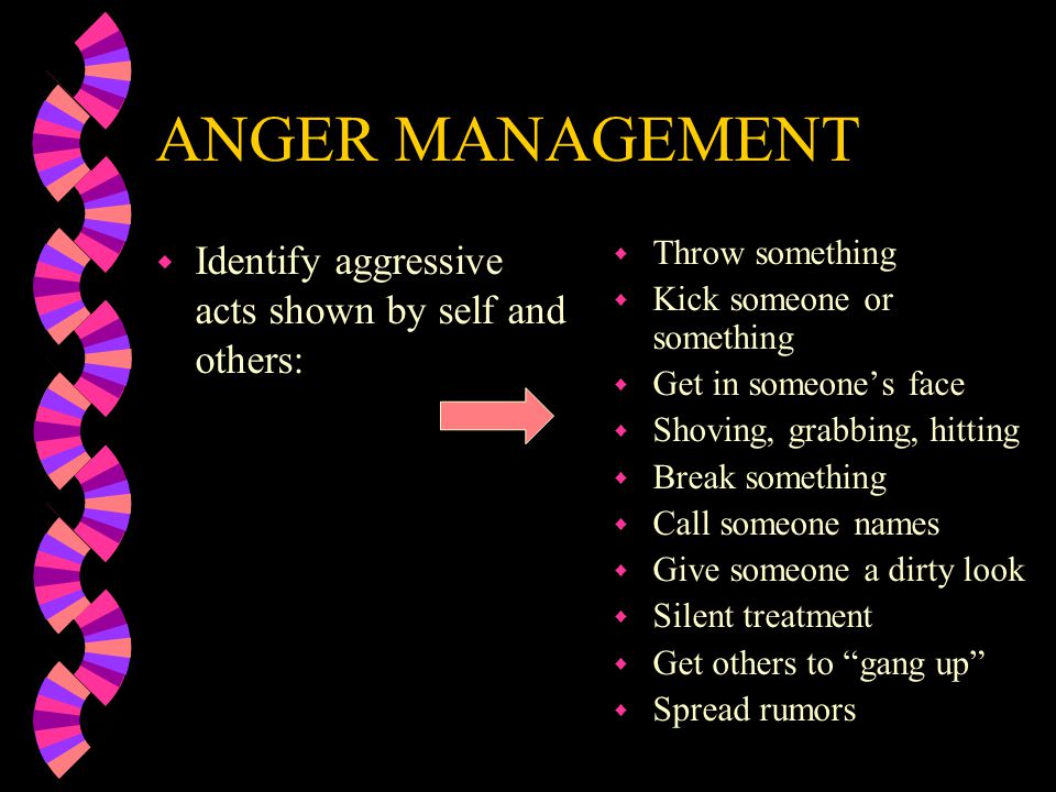 ANGER MANAGEMENT Identify aggressive acts shown by self and others: