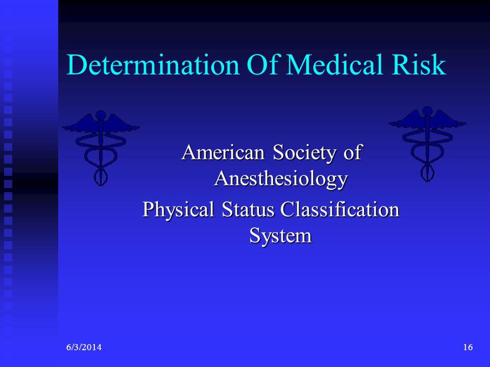 Determination Of Medical Risk