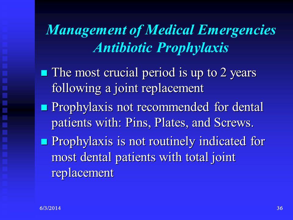 Management of Medical Emergencies Antibiotic Prophylaxis