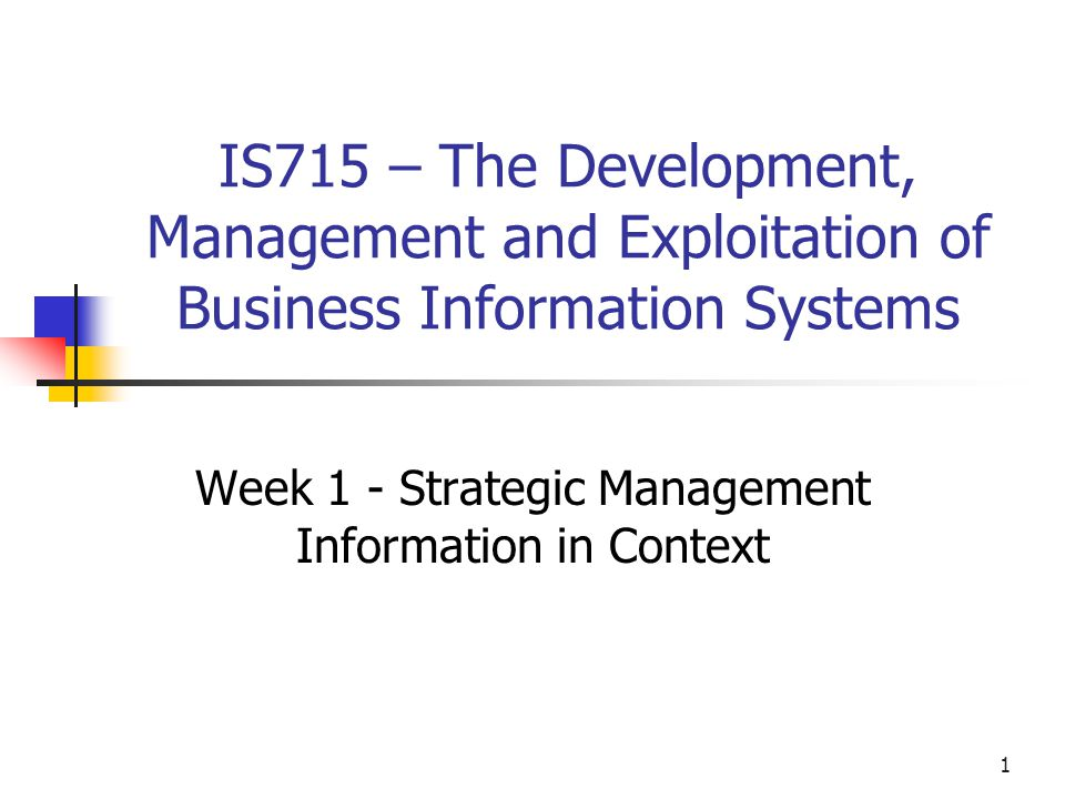Week 1 - Strategic Management Information in Context