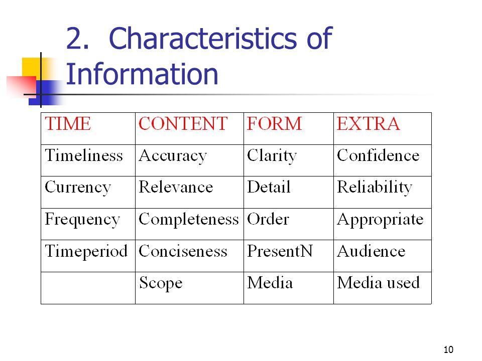 2. Characteristics of Information