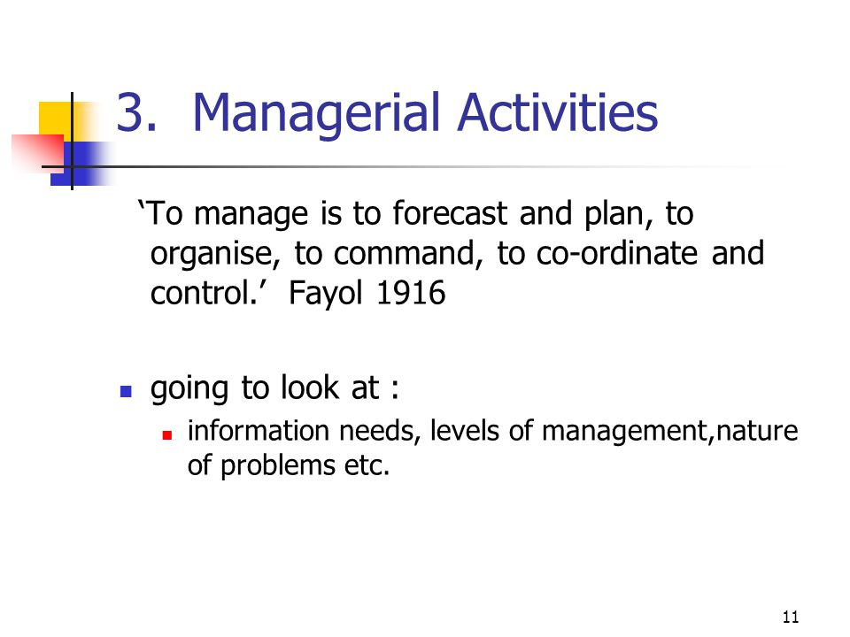 3. Managerial Activities