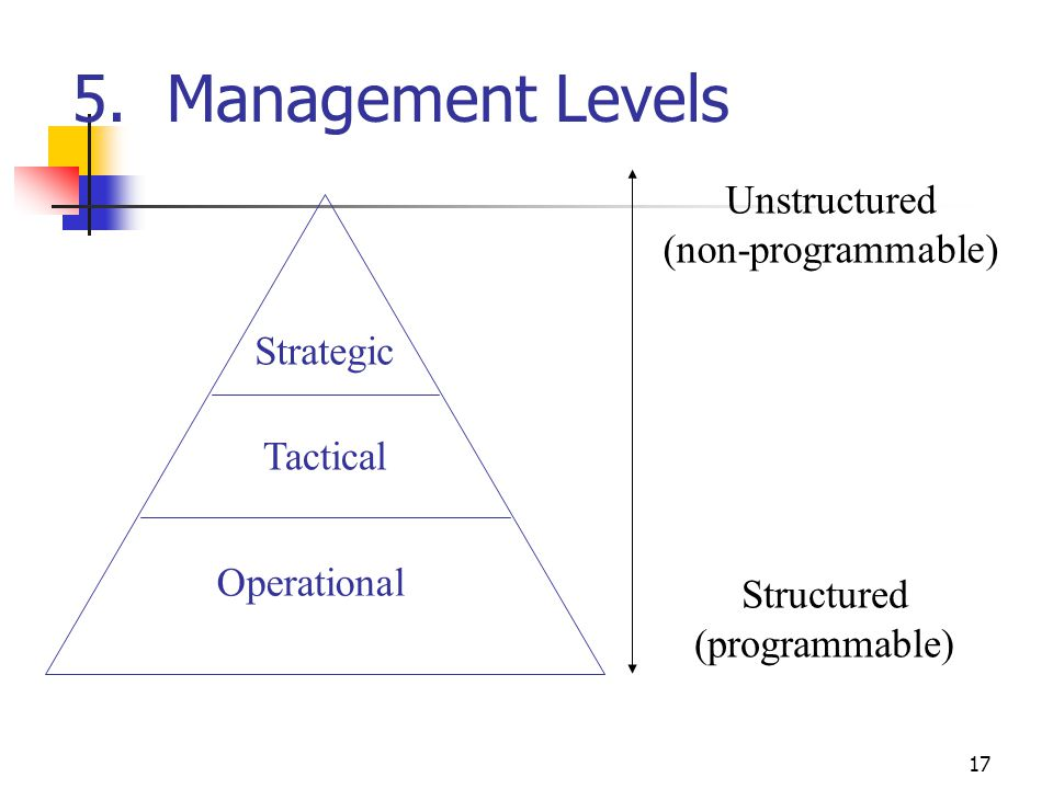 5. Management Levels Unstructured (non-programmable) Strategic