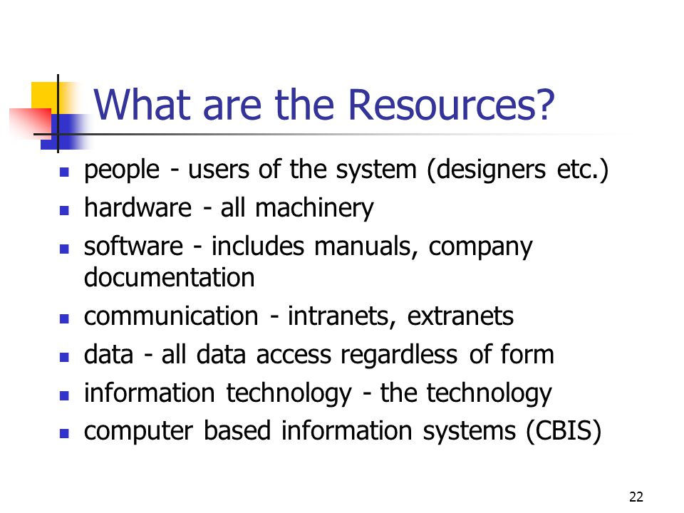 What are the Resources people - users of the system (designers etc.)