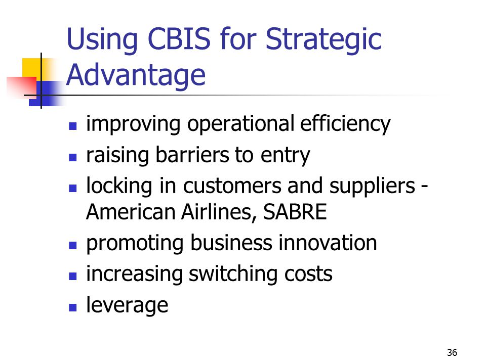 Using CBIS for Strategic Advantage
